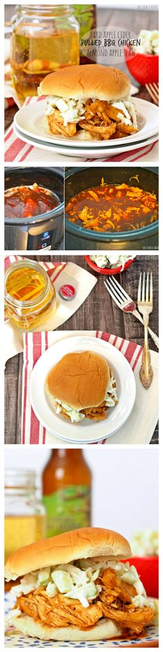 Hard Apple Cider Pulled BBQ Chicken Sandwiches with Almond Apple Slaw. Delicious! So easy and made in the crock-pot! Best slow cooker meal ever! #slowcooker #tailgate #bbq   http://www.thecookierookie.com/hard-apple-cider-pulled-bbq-chicken/  