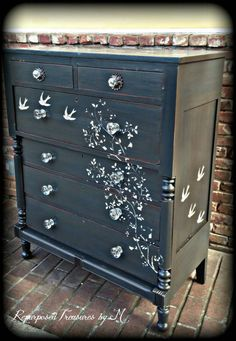 SORRY THIS ONE IS SOLD BUT I CAN MAKE YOU SOMETHING SIMILAR, JUST ASK! I DO CUSTOMS! Distressed dresser, shabby chic dresser, stenciled dresser, 6 drawer dresser, Rustic dresser, antique dresser, painted dresser, gray dresser Perfect for a baby room! Perfect For a girls room! Perfect