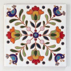 Folk Art Flowers, Flower Art, Cat Pattern Wallpaper, Painted Rocks, Hand Painted, Art Populaire, Blue Pottery, Turkish Art, Handmade Tiles