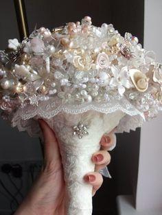 My Bead / Brooch / Crystal Bouquet. :  wedding bead bouquet brooch crystal diy flowers homemade ivory pink white DSCF3993