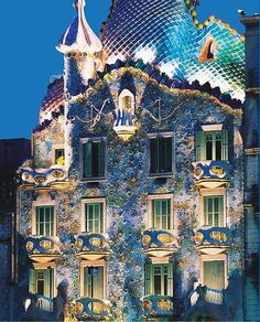 Casa Batllo at night-built in 1877 by architect Antoni Gaudi. It graces the streets of Barcelona, Spain