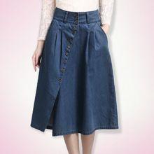 2014 placketing falda vaquera del todo fósforo del dril de algodón medio de  una… Faldas 2491ce4a8bdc