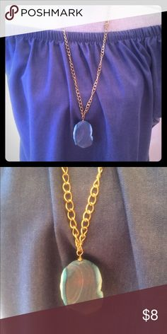Blue stone necklace Beautiful blue stone necklace with gold plated chain. Very cute accessory for any outfit. Jewelry Necklaces