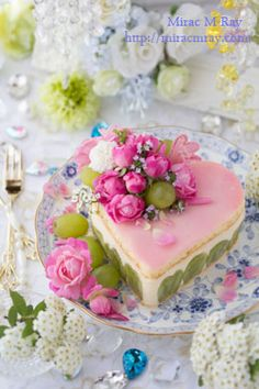 Pink & Green Fraisier Style Heart Shaped Grape Cheese Custard Cream Cake