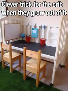Convert a crib into a desk when they outgrow it by removing just one railing.