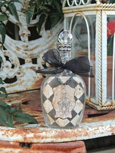 Vintage French Checkerboard Decor Inspired Altered by Bricada, $25.00