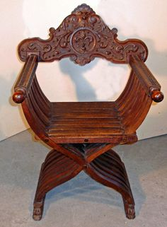 Italian Savanarola folding chair c1880 Beautiful example because there was no seating in church, you had to haul in your own.