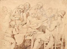 """WILLE Pierre-Alexandre (1748-1821) """"Le concert"""" Plume et encre brune sur traits de [...], Gravures - Dessins - Tableaux - Sculptures ... at Audap & Mirabaud"""