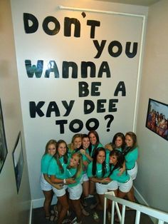 Don't you wanna be a Kay Dee too?-- in the stairwell where allllll of those quilts and door wreaths are? Third floor to second Kappa Delta Sorority, Sorority Rush, College Sorority, Alpha Xi Delta, Gamma Phi Beta, Sorority Recruitment, Phi Mu, Sorority Life, Theta