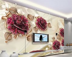 Beibehang Custom 3D European Luxury Jewelry Flower Photo 3D Living Room TV Background wallpaper for walls 3 d papel de parede