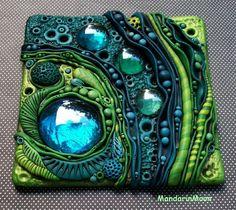 Neptunes Garden Mosaic Art Tile Polymer Clay and by MandarinMoon