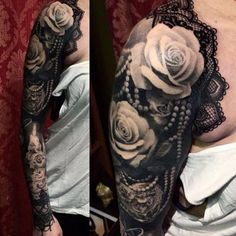 Roses & Lace tattoo by at Red Rose Tattoo in Gothenburg, Sweden . Lace Sleeve Tattoos, Tattoos Skull, Sleeve Tattoos For Women, Tattoo Sleeve Designs, Body Art Tattoos, Girl Tattoos, Thigh Tattoos, Cloud Tattoos, Tattoos Pics