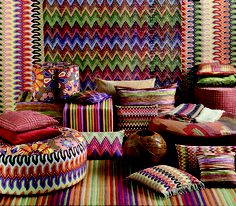 We love Missoni! Missoni's legendary striped zigzag pattern has driven design lovers crazy for decades. These accent pieces will make any room pop, as well as make you look like the seasoned designer. Missoni, Objet Deco Design, Print Wallpaper, Soft Furnishings, Home Textile, Decoration, Modern Furniture, Modular Furniture, Decorative Pillows
