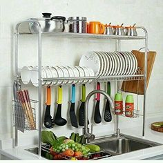Stainless Steel Adjustable Dish Drying Rack Utensil Holder, Removable Side Compartments For Utensils, Cutlery, Liner Dish Holder, Over the Sink Kitchen Storage Shelf (Double Groove) Kitchen Organisation, Diy Kitchen Storage, Diy Kitchen Decor, Kitchen Shelves, Kitchen Interior, Home Decor, Organization Ideas, Kitchen Racks, Diy Storage