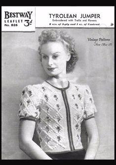Tyrolean Jumper/Sweater Bestway no door StraightTalkingMama Vintage Knitting, Vintage Crochet, Knitting Patterns, Crochet Patterns, Knitting Ideas, Knitting Projects, Vintage Outfits, Vintage Fashion, Women's Fashion