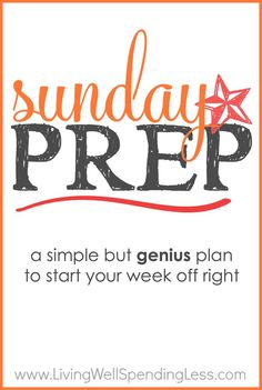 Tired of hectic weekdays?  With this step-by-step Sunday Prep plan, just a few hours of hustle on the weekend can save you 5 days of stress during the week!  By the time you are done, you will have prepared freezer meals for breakfast, lunch, and dinner, plus tidied the house, planned your menu, tackled 2 loads of laundry, AND pre-selected outfits for the rest of the week.  There's even a printable prep sheet and action plan to help you get it all done!  Simply genius! #freezercooking…