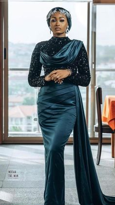 African Maxi Dresses, Latest African Fashion Dresses, African Print Fashion, African Attire, Women's Fashion Dresses, Elegant Outfit, Classy Dress, Nigerian Wedding Dresses Traditional, Long Mermaid Dress