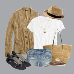 Longer shorts but love how cute and simple this outfit is to recreate w/clothes in my closet.