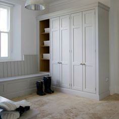built in storage seating. Drawers beneath, cabinets above. SLIDING DOOR WARDROBES as studio-closet combo above/behind the dining banquette bench. Closet Shoe Storage, Hallway Storage, Stair Storage, Built In Storage, Storage Spaces, Tall Cabinet Storage, Closet Bench, Boot Storage, Basket Storage