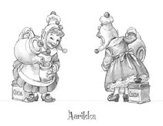 """HOLIDAY/SANTA Drawings            Santa's Elves - for Figurines - This series of drawings were done as figurine designs for The GreenwichWorkshop Collection of """"Santa and his Elves.""""    All of these drawings were done in graphite on layout bond, page size: 12"""" x 9.""""  - Variation: Aarikka with Cocoa Box (right)"""