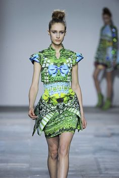 Mary Katrantzou Fall 2012 Short Cup Sleeve Hourglass Mini Dress With Folded Skirt Details, Mandarin Collar, Print And Print in Green