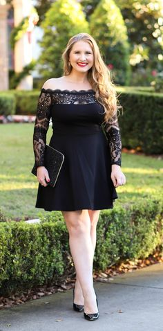 Classy holiday party outfit featuring an off the shoulder lace dress and gorgeous curls from Hair Cuttery! See the full look from Orlando, Florida beauty and style blogger Ashley Brooke Nicholas #myHCstyle #sponsored | little black dress, classic holiday style, Christmas style, Christmas party outfit, blonde curls, loose curls, holiday hairstyles