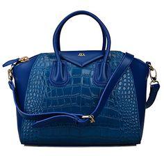 Bagroo-HD 100% Genuine Leather Top Handle Handbags Crocodile Embossed Tote Bag (Blue) Bagroo http://www.amazon.com/dp/B00N3OLLU8/ref=cm_sw_r_pi_dp_UGHgub1484RZF
