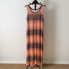 8/3 Hp Nwt Orange With Grey Striping Dress