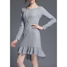 $13.11 Elegant Scoop Neck Long Sleeve Solid Color Flounced Sweater Dress For Women
