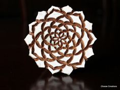 Hand Carved Indian Wood Block Stamp Dahlia by charancreations, $25.00