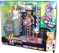 Disney Hannah Montana Light Up Dance Party Playset with 11 Inch Tall Hannah Montana Doll in White Tops and Blue Denims, Relaxing Lounge, DJ Booth, 2 Tropical Smoothies, Water Bottle, Serving Tray, Make-Up Compact, Popcorn, Nachos, Pizza and Cell Phone by Jakks. $48.95. Disney Hannah Montana Light Up Dance Party Playset with 11 Inch Tall Hannah Montana Doll in White Tops and Blue Denims, Relaxing Lounge, DJ Booth, 2 Tropical Smoothies, Water Bottle, Serving Tray, Make...