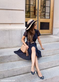Classic Summer outfit // navy eyelet lace dress (in petites), Gucci soho bag, Ferragamo flats. Click through the image for all outfit details!