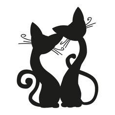 Cat Lovers Cute Cartoon Silhouette Wall Art Decal Sticker Removable Vinyl Cut Transfer Stencil Mural Home Room Decor S M L Cartoon Silhouette, Silhouette Chat, Fairy Silhouette, Wall Tattoo, Cat Crafts, Cat Drawing, Fabric Painting, Cute Cartoon, Cat Art
