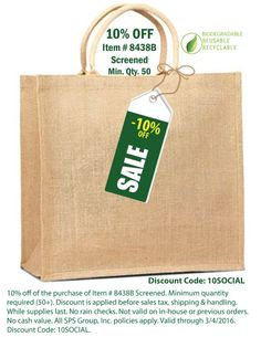 Jute Tote Bags with strong cotton webbed handles, limited time discount code.