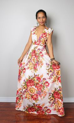 b55312b66abb Floral Maxi Dress - Boho Summer Dress   Oriental Secrets Collection