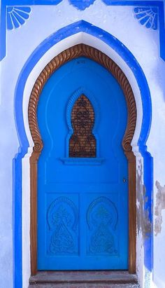 Chefchaouen, Morocco: vibrant blue door and entrance