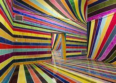 Markus Linnenbrink: German gallery painted in rainbow-coloured stripes.