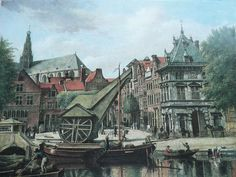 De Waag with the wooden crane about 200 years ago.