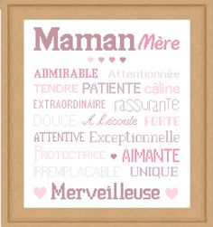 Grille gratuite de point de croix : AFFICHE «MAMAN»                                                                                                                                                      Plus Alphabet, Scan N Cut, Diy For Kids, Machine Embroidery Designs, Slogan, Gifts For Mom, Needlework, Bullet Journal, Diane