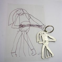 Preserving kid art by turning it into jewelry or a keychain