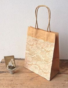 Kraft Gift Bag with Vintage Lace