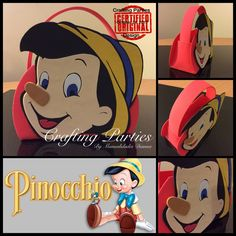 Pinocchio goodie bag. Everything is handmade out of craft foam. Contact me: diannacraftingparties@yahoo.com follow me on IG: @craftingparties or on Facebook at www.facebook.com/craftingpartiesbydianna #pinocchio