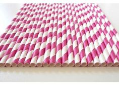 25 Hot Pink Paper Straws ... from 'Party Queen' on Lilyshop for $5.00