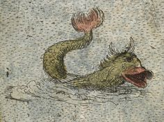 CORNWALL (c.1579) | Burghley-Saxton Atlas: 'One-eyed sea monster on the map of Cornwall in the Burghley-Saxton atlas, c. 1579, British Library, Royal MS 18.D.III. 'Sea monsters have gone from having both scientific and decorative functions (showing what was thought to live in the sea, and making the maps more lively and appealing), to having a purely decorative function.'     ✫ღ⊰n