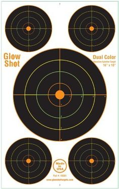 """20 Pack - 10x16"""" Reactive Splatter Target 5 Bulls-eyes Per Target - Multicolor - Total of 100 Targets on All 20 Sheets by GlowShot Targets. $13.99. GlowShot 10x16 Multi Color Reactive Targets. You will """"See Your Hits Instantly."""" These targets use GlowShot Technology to produce a colored ring around your hits. No more walking down range or picking a spotting scope to see your hits. Each colored ring represents 1 inch from the center. These targets are made of a heavy duty rein..."""