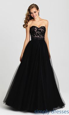Madison James Strapless A-Line Gown with Embroidered Top. A Line Prom  DressesBlack ... 25350a547b9a