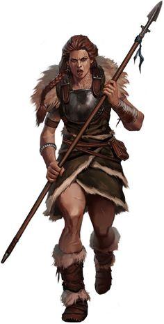 f Barbarian light Armor Spear midlvl wilderness forest hills Valiant Woman