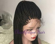 Mirco braided wig handmade on full lace wig - Braided wig - Braids- Box braids - Lace wigs - Frontal wigs - Braided lace wigs - Mirco braids Frontal Hairstyles, African Braids Hairstyles, Permed Hairstyles, Straight Hairstyles, Braided Hairstyles, Braided Locs, Dreadlock Hairstyles, Wedding Hairstyles, Cheap Hair Extensions