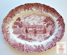Vintage English Red Transferware Platter Cottage Row Boat Lake Swans F