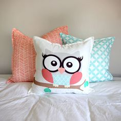 Girl owl scatter cushion with Coral Herringbone and Duck Egg Circle cushions…